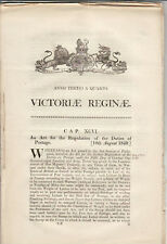 GB QV Act of Parliament 10th August 1840 Postage Duties