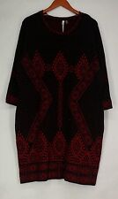 NY Collection Plus Size Dress 2X 3/4 Sleeve Geometric Patterned Red / Black New