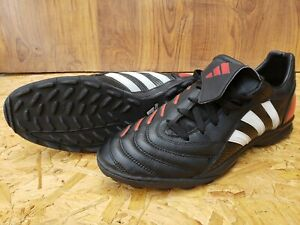 ADIDAS PULSADO TRXTF FOOTBALL BOOTS UK 10.5 EU 45 BLACK RED LEATHER SOCCER SHOES