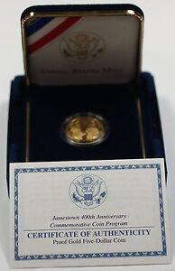 2007 Jamestown 400th Anniversary Commemorative Proof $5 Gold Coin w Box/COA DGH