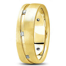 NEW MENS 14K YELLOW GOLD ROUND DIAMOND SATIN WEDDING BAND RING 7mm SIZE 10