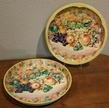 2 Daher Decorated Ware Round Tin Trays 11101 Fruit Design, Yellow Border
