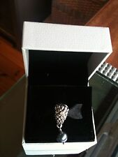 Pandora Charm Grapes Bunch, Diamond pearl sterling silver with 14k Gold RETIRED