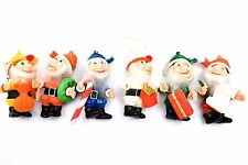 Vintage Flocked Elf Gnome Ornaments- Set of 6- Lot #4