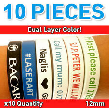 Custom Personalized Silicone Wristband Dual Color Debossed Bands 12mm x10 QTY