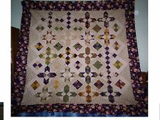 Nice Modified Parasol Stars Civil War Pattern Lap/Bed Quilt Top Approx (72 x 73)