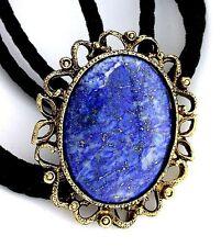 Natural Oval 40x30 Lapis Lazuli Cab Cabochon Gemstone Bolo Tie Cord Tips EPBT72N