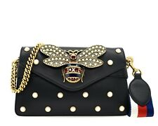 Gucci Broadway Bee Crossbody Pearl Studded Black Leather New