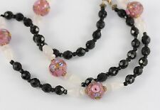 Long Pink Venetian Wedding Cake, Rose Quartz and Black Glass Bead Necklace