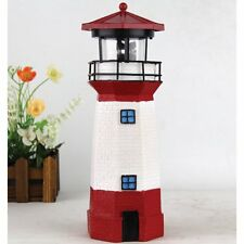 Solar Lighthouse with Rotating Lamp Outdoor Decor Landscape Figurine Lights