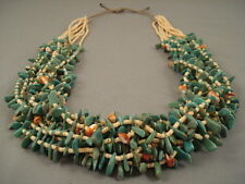 NATURAL GREEN TURQUOISE 228 GRAMS NAVAJO SHELL NECKLACE
