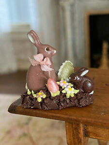 Vintage Miniature Dollhouse UK Artisan Clay Chocolate Bunny Easter Centerpiece