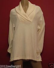 ESCADA SPORT CREAM/IVORY THICK PLUSH COWL NECK PULLOVER CARDIGAN SWEATER SZ M