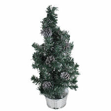 Artificial 60cm Christmas Tree with Silver Tinsel Flecks and Pine Cones