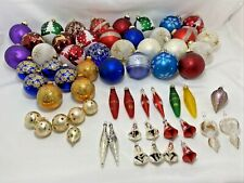 Lot Glass Christmas Tree Ornaments Assorted Sizes Multi Colored Glitter Vintage