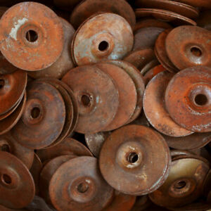 40mm Rusted Iron Back Plates for Ring Pull Handles - Choose Pack Size