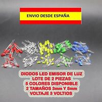 DIODOS EMISORES DE LUZ LED 3V 2 PIEZAS 5 COLORES Y 2 TAMAÑOS A ESCOJER MINIATURA