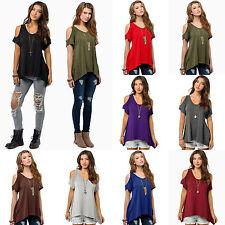 Mode Damen Sommer Cold Shoulder Bluse T-shirt Tunika Freizeit Lässig Oberteil