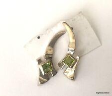 Vintage Earrings MARKED SHUBE'S 925 Sterling Silver Pierced Green Stone lot p