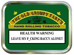 The Grumpy Old Fart`s.  2oz Gold Tobacco Tin , Stash Can , Storage Box.