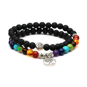 Healing Yoga Beaded Bracelet 8mm Lava Stone Meditation Mala Jewelry Beads X8H9