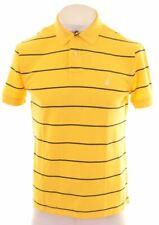 NAUTICA Mens Polo Shirt Medium Yellow Striped Cotton Classic Fit  BF11