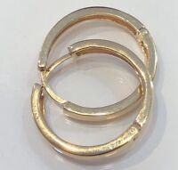 18K Solid Yellow Gold Hoop Earrings Women 3.7 Grams