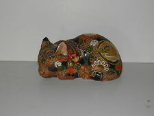 Beautiful Vintage Japanese SATSUMA KUTANI  Sleeping Cat Porcelain Figurine