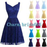 Stock New  Short Prom Bridesmaid Cocktail Party Evening Lace Dress Bridal SZ6-18
