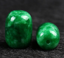 Natural 13x18mm Green Jade Lucky Barrel Bead Pendant + Free Necklace AAA+