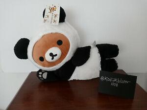 "15"" Plush Rilakkuma Teddy Bear in Panda Suit Outfit Laying Laydown 2017 Japan"