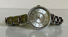 ANNE KLEIN TWO-TONE GOLD SILVER SWAROVSKI CRYSTALS SILVER BRACELET WATCH $85