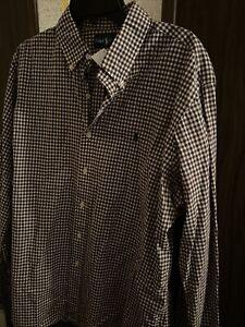 Mens Size XL Polo Ralph Lauren Brown/White Plaid Dress Shirt
