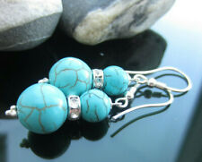 Turquoise Beads Earrings 925 Silver made with SWAROVSKI ELEMENTS