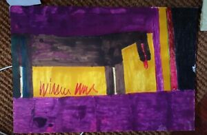 Willie White Folk Art  Outsider African-American Grey Horse painting #3123