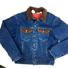 Vtg Key Imperial Men Blue Jean Quilted Lined Barn Coat Denim Work Shop Jacket 38