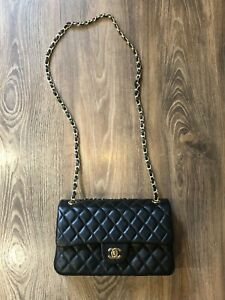 Chanel Classic Flap Black Authentic Genuine Bag Free Shipping