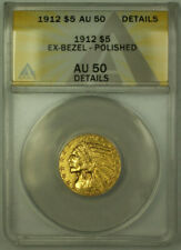 1912 Indian $5 Half Eagle Gold Coin ANACS AU-50 Details
