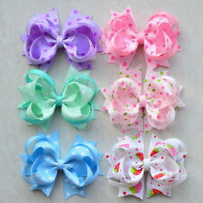 """6pc 3.5"""" Girl Baby infant dog Boutique Hair Bows Alligator Clip for headband lot"""