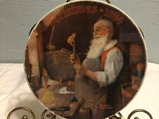 1984 Knowles Collectors Christmas Plate Norman Rockwell Santa In His Workshop