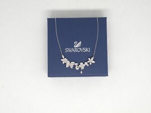 "Authentic Swarovski ""EDEN"" Crystal Necklace Rhodium Finish New in Box"