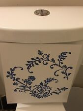 Country Blue Floral Flower French Decals Stickers Rectangle Blue Bath Tank Decor