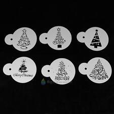 6pcs Christmas Tree Mold Coffee Milk Fondant Cake Cookie Stencil Baking Template