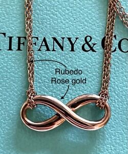 Tiffany & Co Rubedo Rose Gold Double Strand Chain Infinity Necklace Pendant