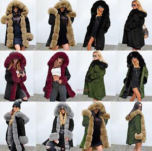 Womens Winter Luxury Faux Mink Fur Coat Parka Hooded Jacket Warm Long Outerwear