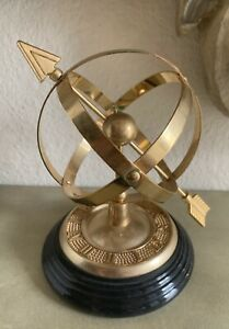 Vintage Arrow Armillary Sphere Sundial Solid Polished Brass Marble Base