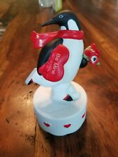Schmid Music Box 1984 - Ice Skating Peguin with Be Mine Heart Valentine's Day