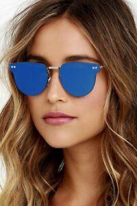 Spitfire Cyber Silver Frame Blue Mirror Flat Lens Sunglasses w/ Case