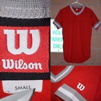 Vtg 80s Wilson Ringer Jersey T Shirt-Sz Small~ Red/Gray/White