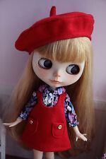 Handmade Blythe Doll Clothes Set Doll Beret Shirt Skirt for Blythe Azone -3piece
